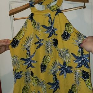 Womens yellow dress with pineapples